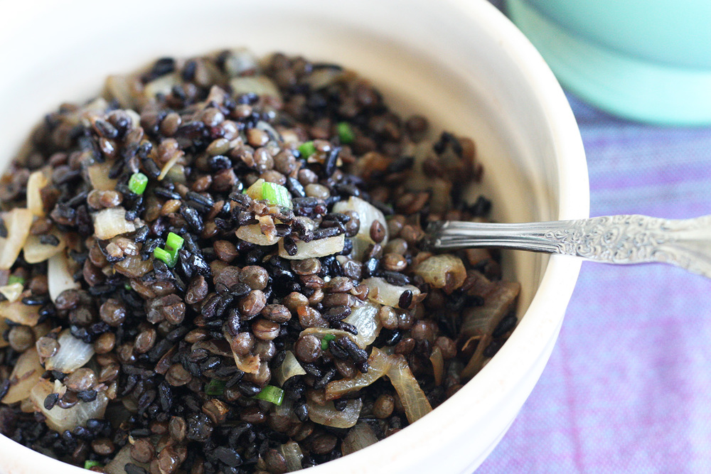 black rice and lentil mujadara