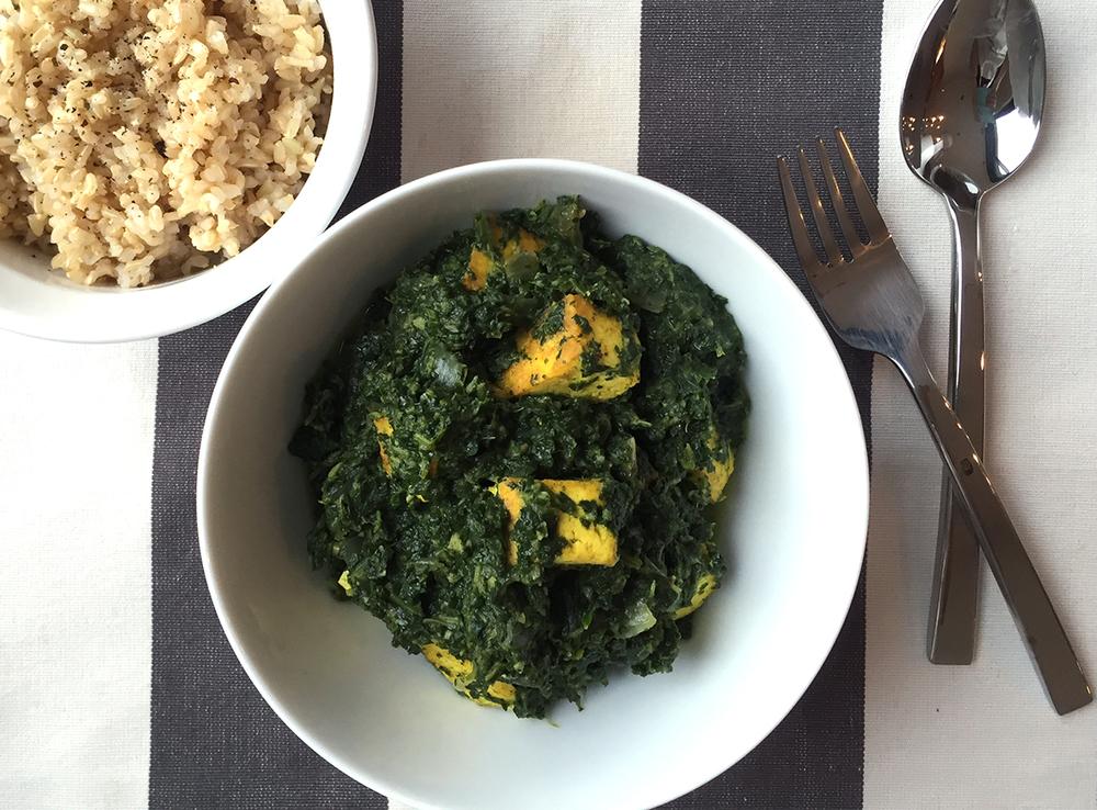 Saag Tofu (Vegan Saag Paneer)