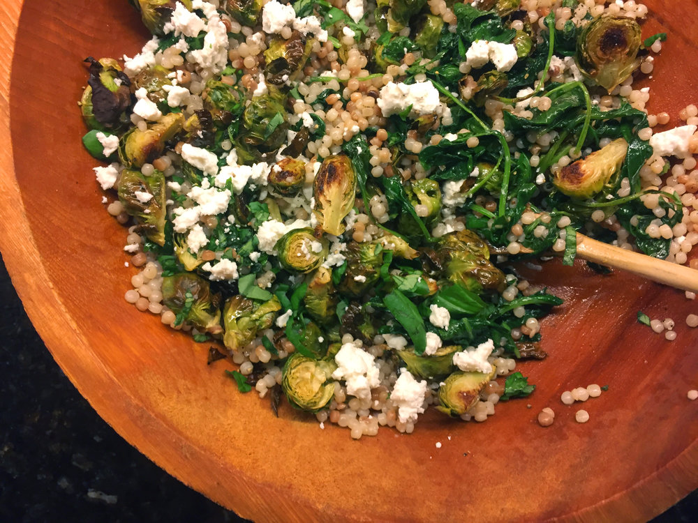 warm couscous and brussels sprout salad