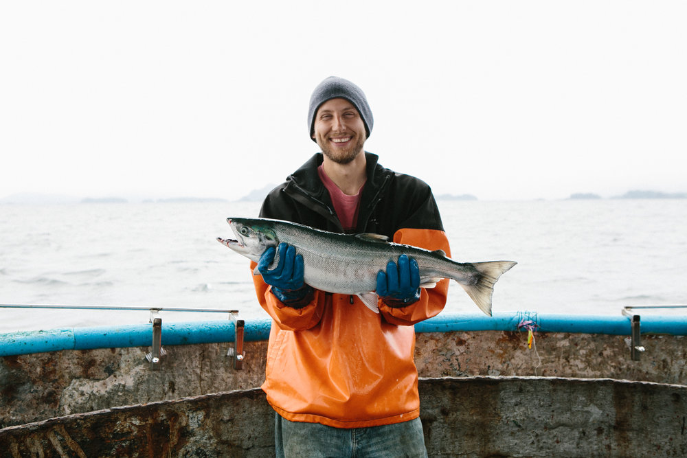 Photo of Drew, one of the fisherman from Sitka Salmon Shares.