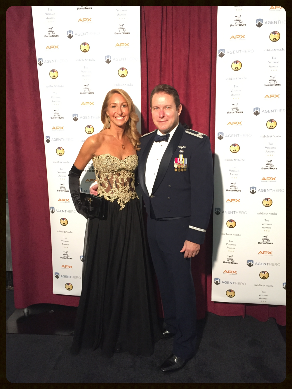 Karen Herson, President of Concepts, Inc. and Ken Plaks, COL, United States Air Force (RET) On the Black Carpet