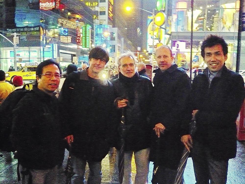 Larry Mah, Thomas Newman, Mike Zainer, Shinnosuke Miyazawa In Times Square.