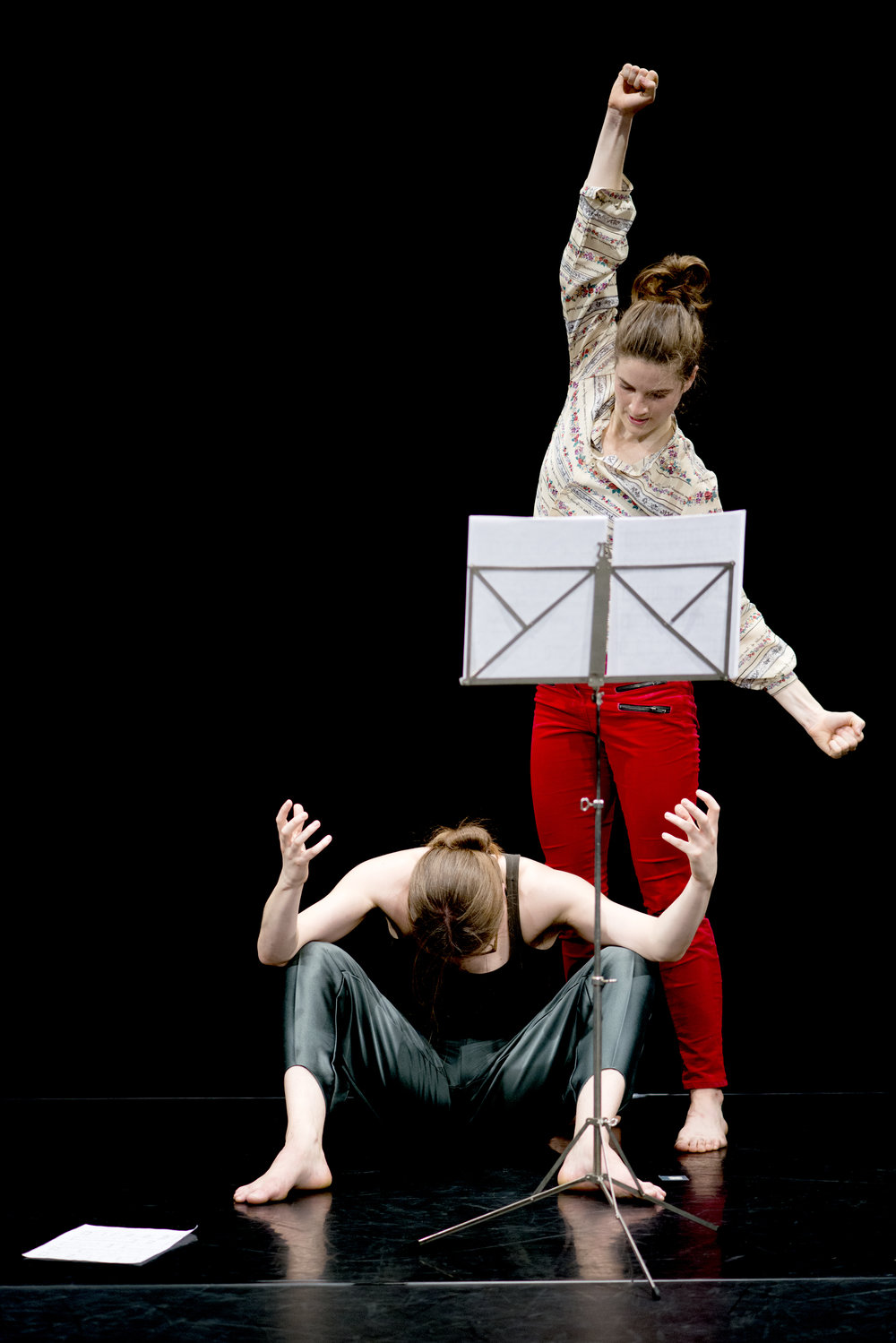 Eleanor And Flora Music, choreography by Eleanor Sikorski and Flora Wellesley Wesley, concept and direction by Jonathan Burrows and Matteo Fargion.