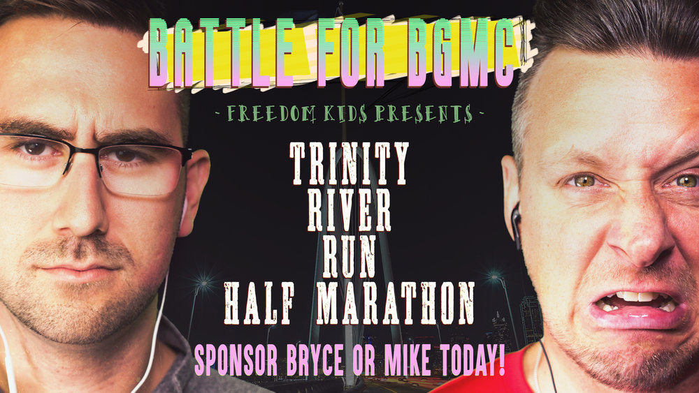 Pastor Mike and Pastor Bryce will be going head to head running the Trinity River Run on November 12th to raise money for BGMC, our children's missions program. Help these guys meet their $5000 goal for missions! You can sponsor one or both of them!  Click here to pledge: http://bit.ly/2ziVrXu