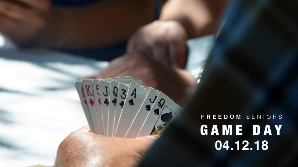 For a great afternoon of fun, food, fellowship and games, come hang out with the Freedom Seniors, our ministry to 60+ (or anyone who thinks they can compete with the 60+). We'll see you on April 12th, 11:30 a.m. in the Freedom Cafe!