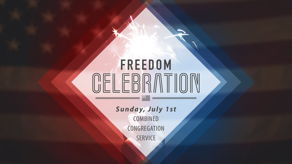 Our Freedom Celebration is happening on Sunday, July 1st at 5PM. First, all our congregations...including our Brazilian, Spanish and Bulgarian will be joining together for one big service to celebrate America...after service, the celebration will move outside to the field by the church with hamburgers, hotdogs, a giant inflatable obstacle course, a kids bounce house and more! Invite a friend and make plans now to attend our Freedom Celebration!