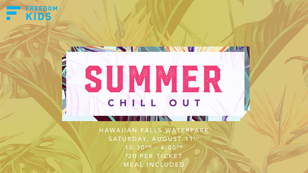 This is our final event of the summer for grades K-5th! Ticket includes access to the park and a meal. E-mail  Lyndi.Fleckenstein@FindFreedom.Church for more info