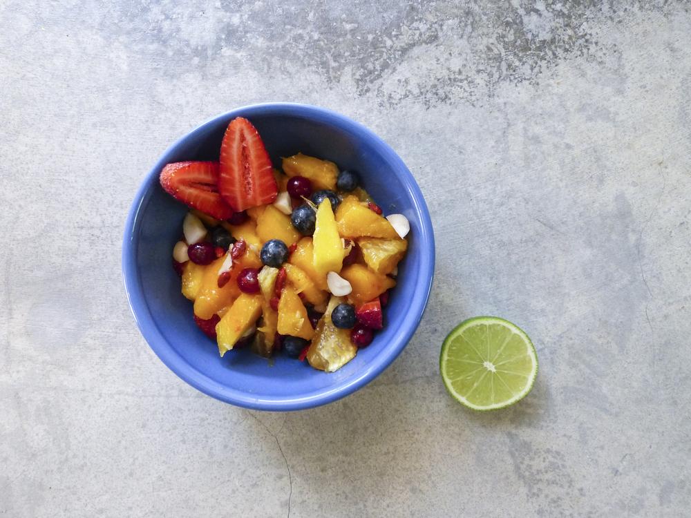 simple healthy breakfast fruit nut bowl