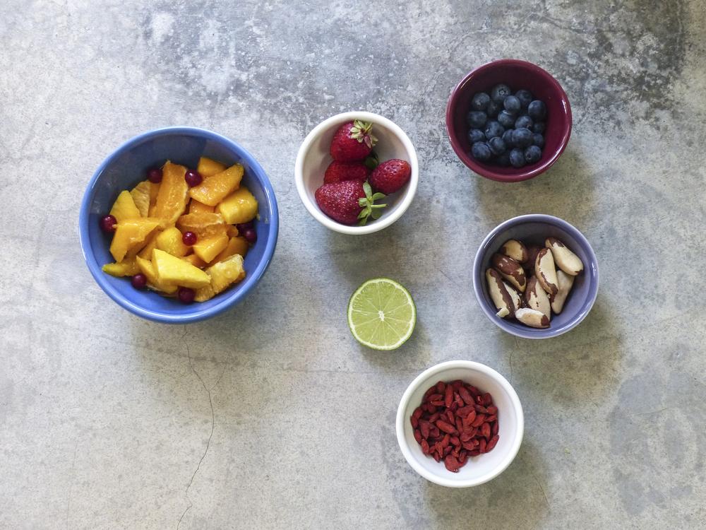 simple healthy breakfast fruit nut ingredients
