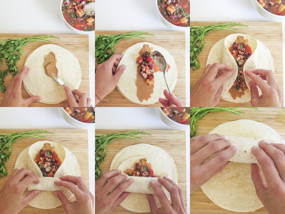 wrap veggie vegetariano exotico simple healthy diospiro tecnica enrolar