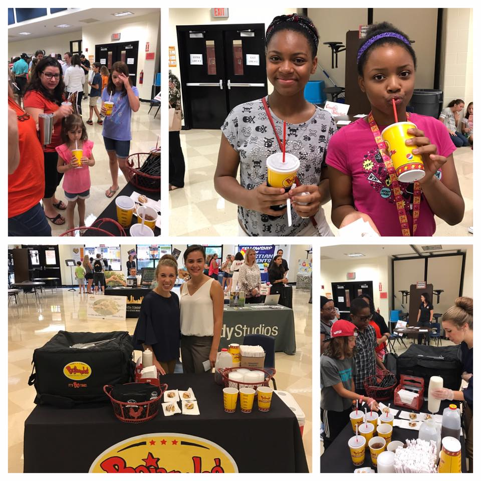 Sampling our Legendary Tea and Bo-Berry Biscuits at  Palmer Middle School PTSA  Preview Day! Welcome back students!