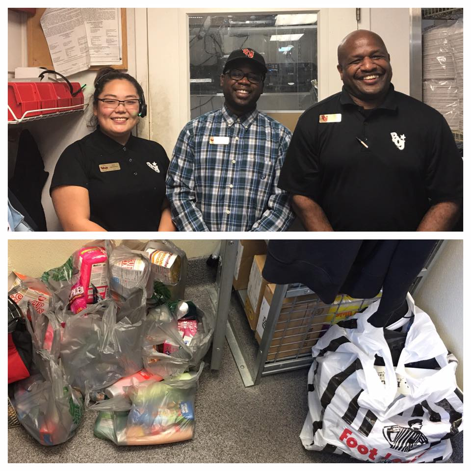 These sweet Marietta Bojangles' Managers collected donations for our Partner in Education- Baker Elementary School  who donated items to Hurricane Harvey victims at Pearl Hall Elementary in TX.