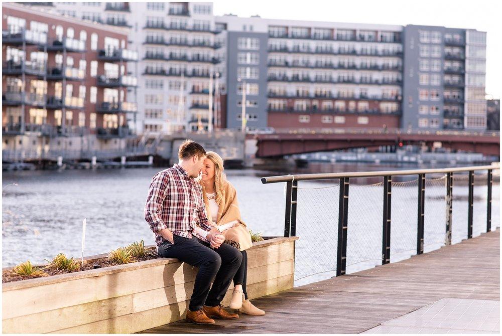 Engaged couple in Third Ward Milwaukee