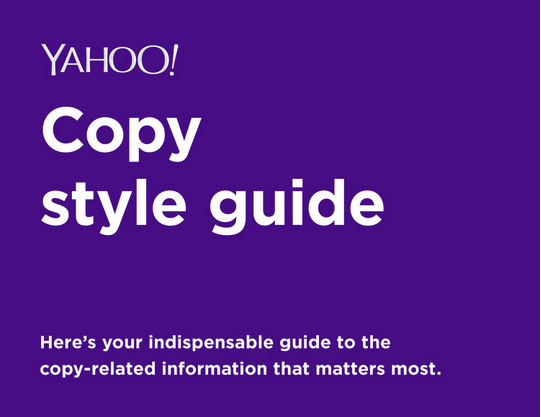 yahoo copy style guide