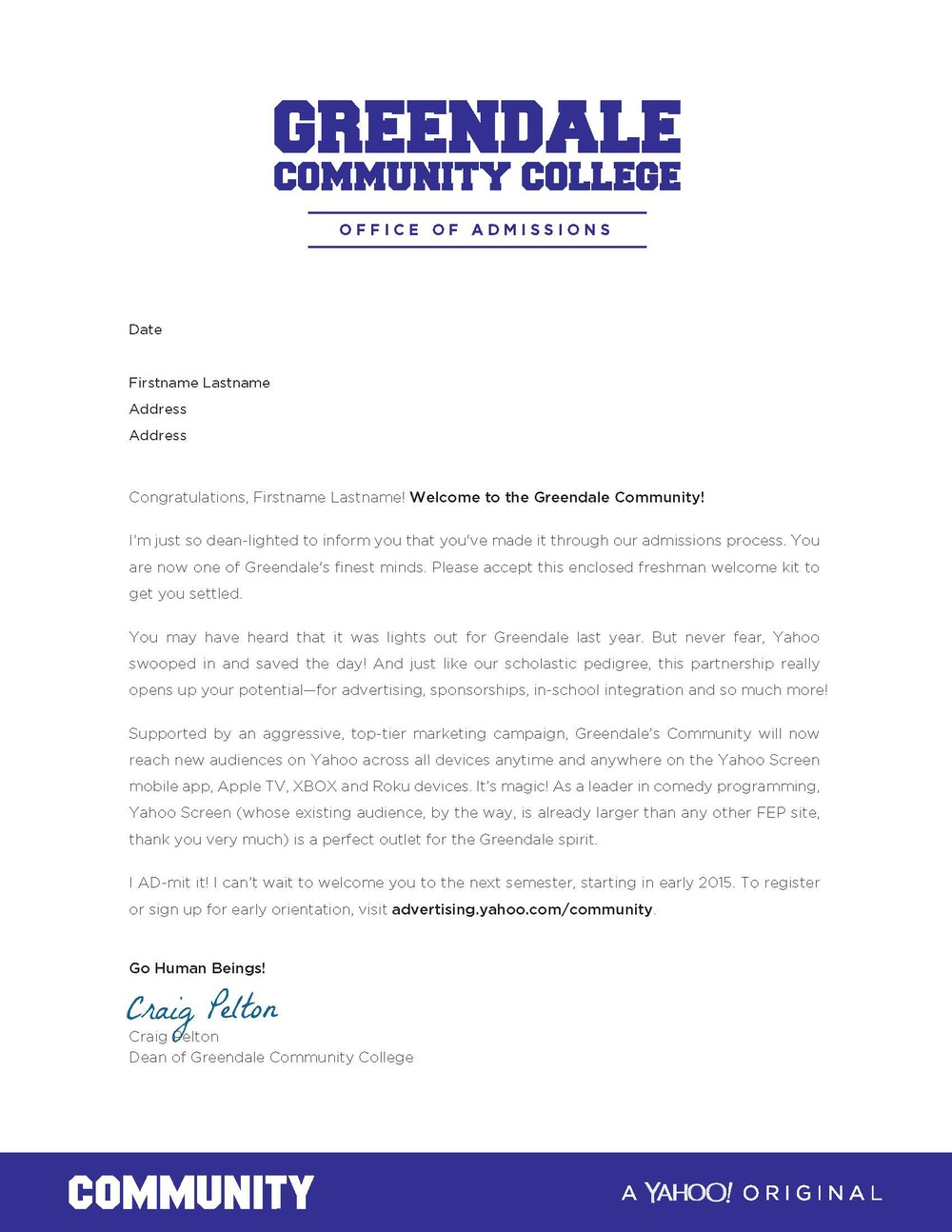 Community Acceptance Letter