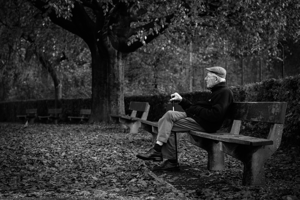 Viewfinder-straatfotografie-Boom-Rupelstreek-oude-man-op-bank-in-park