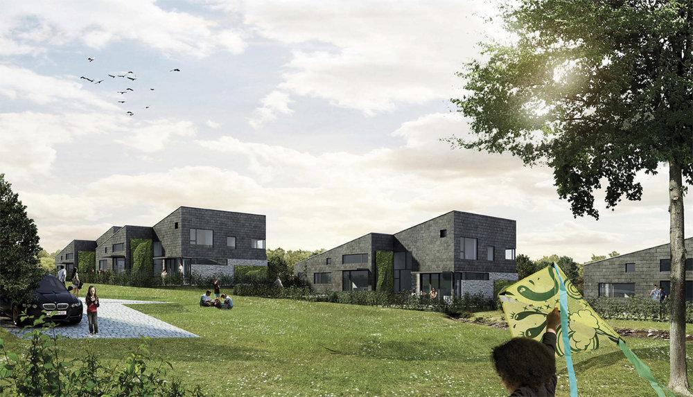 Gødvad Enge  Intentionen med bebyggelsen har været at udforme en moderne almen bebyggelse, der synliggør regnvandshåndtering.   Læs mere →