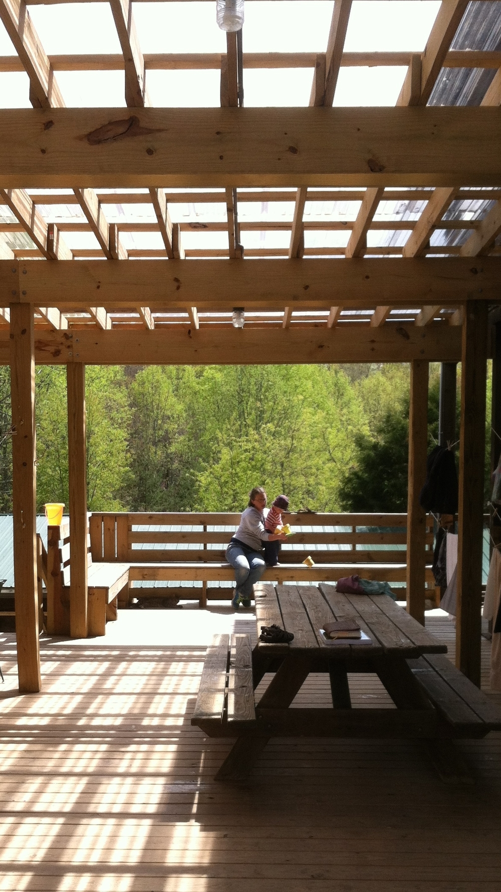 Outdoor covered deck for family and fun