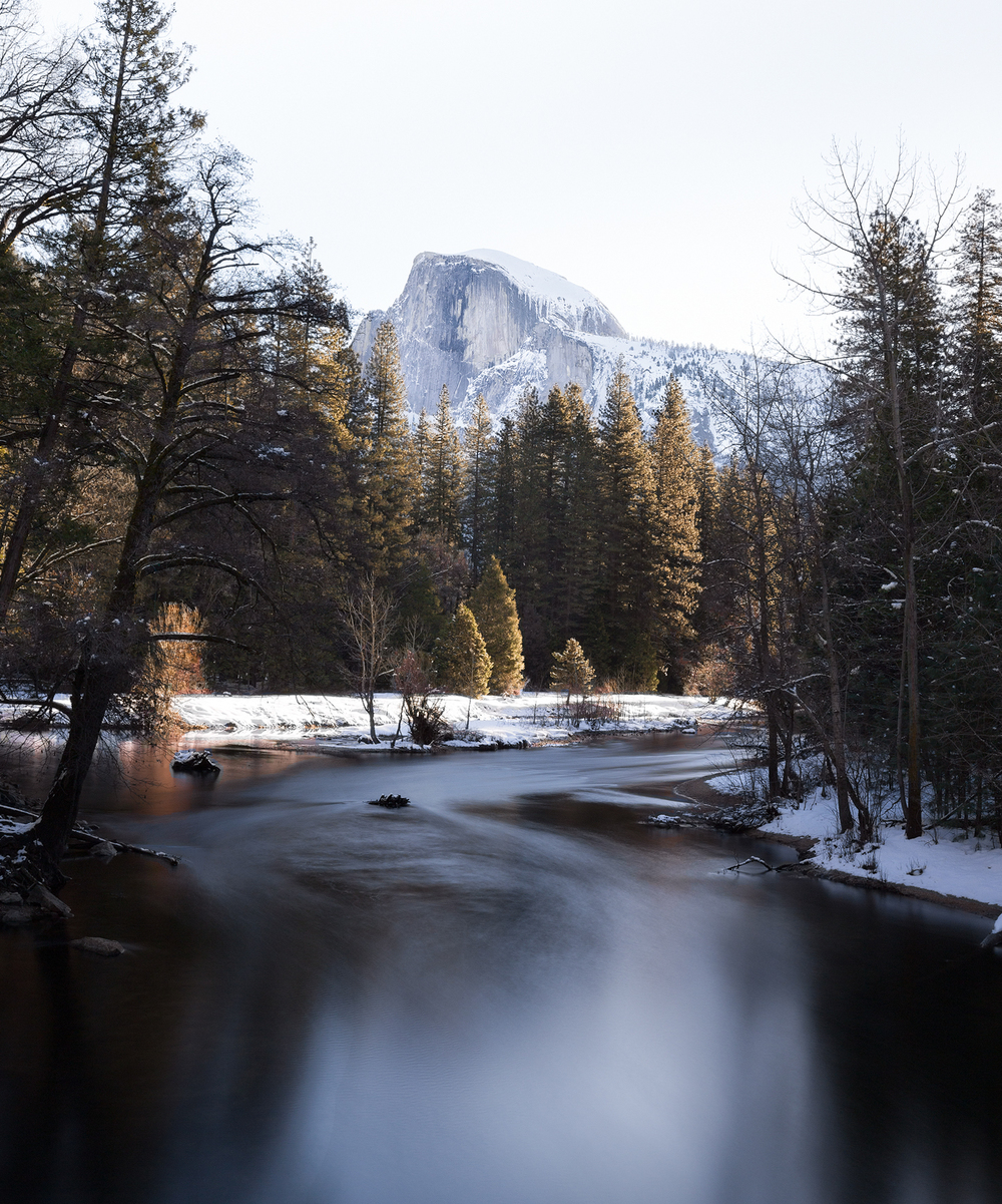the national parks girl_sentinel bridge_long exposure_half dome_merced river_yosemite national park_yosemite_winter_canon6d.JPG
