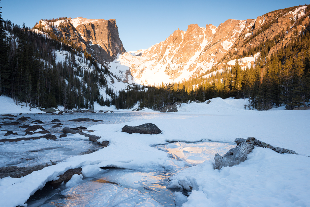 the national parks girl_winter hike_dream lake_sunrise_rocky mountain national park_canon6d.JPG