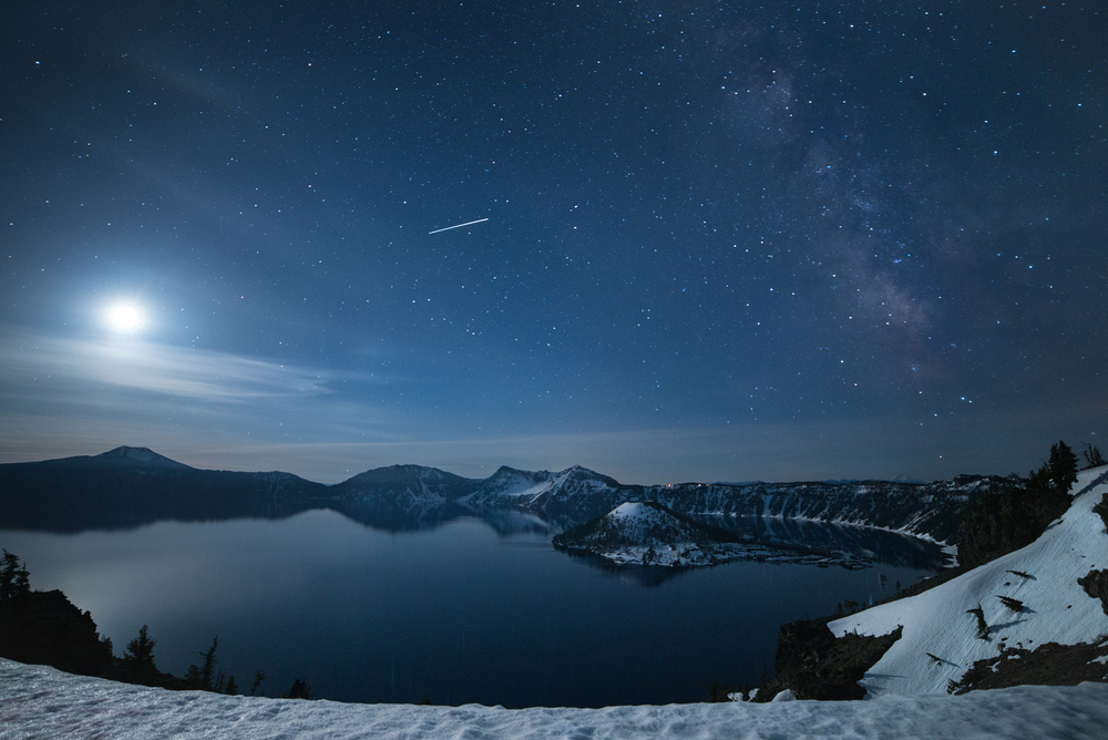 "f/2.8, ISO 1250, 25"". Crater Lake National Park, 5/29/16, 3:00am."