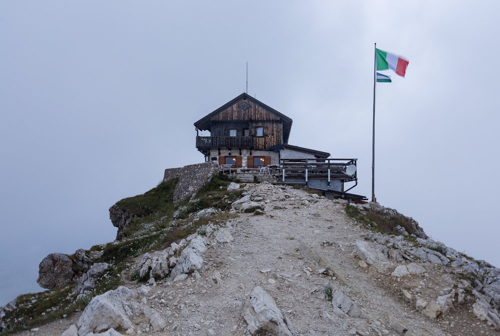 "Rifugio Nuvolau, named after the Italian word for cloud: ""la nuvola"""