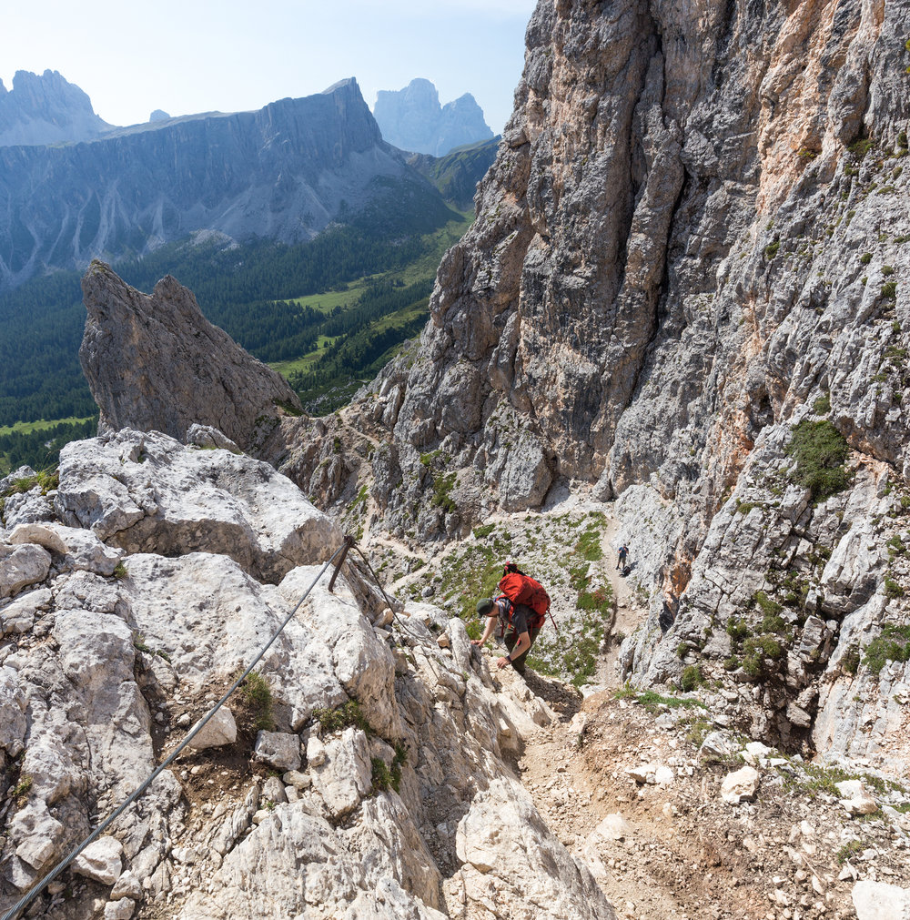 Our friend Evan makes his way down the via ferrata route