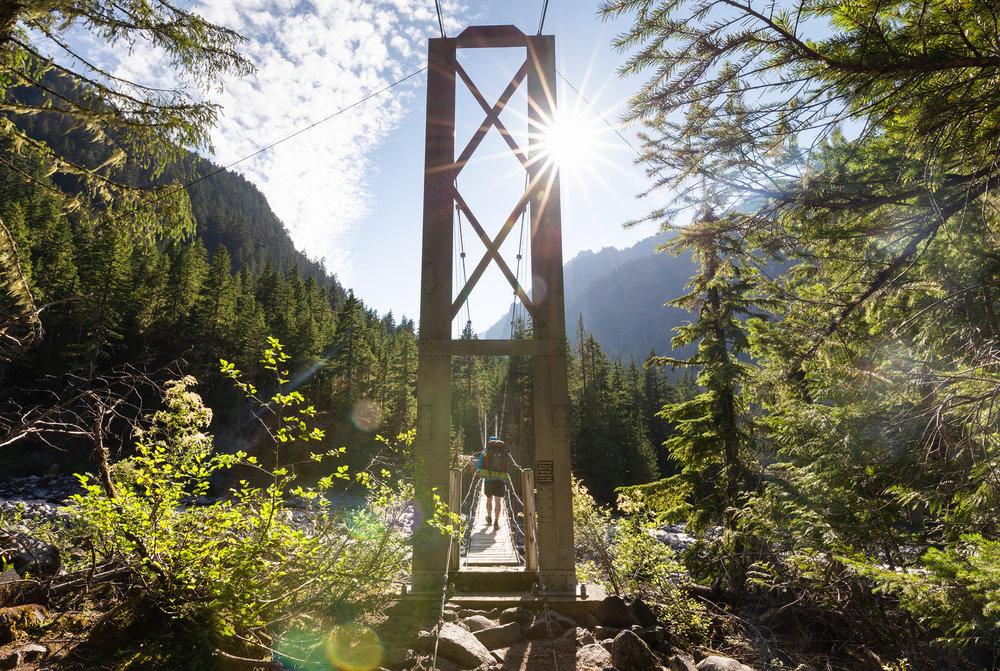 Crossing the Carbon River suspension bridge