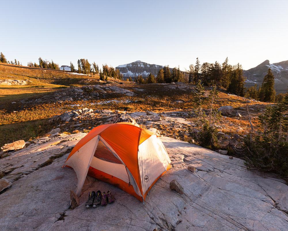 Camp near Sunset Lake