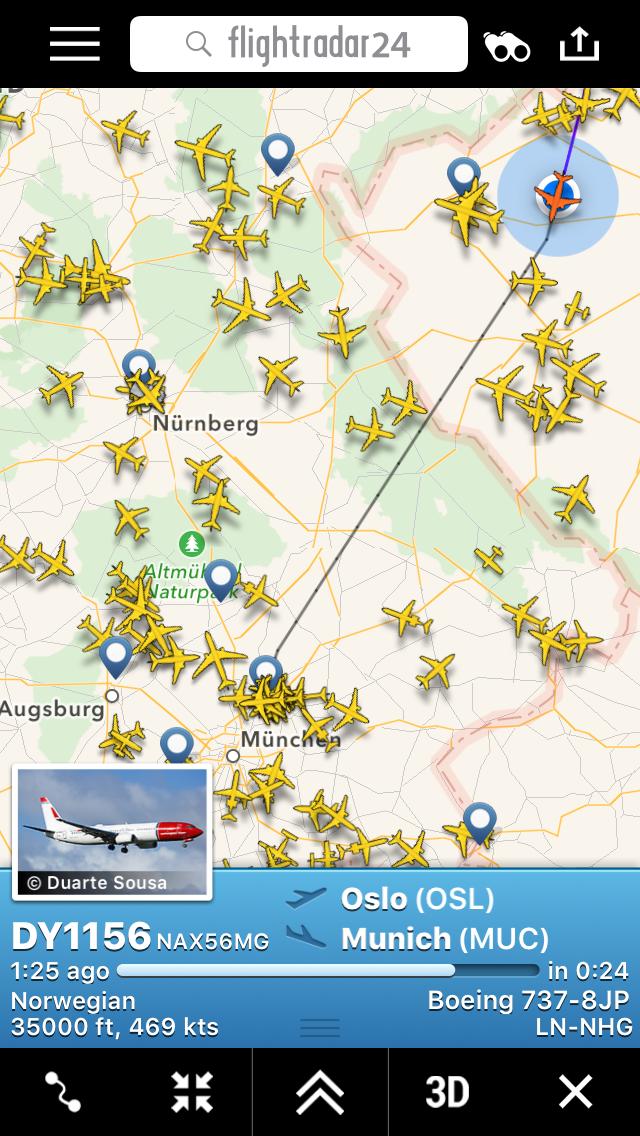 Mange flybevegelser rundt München, men traff ingen