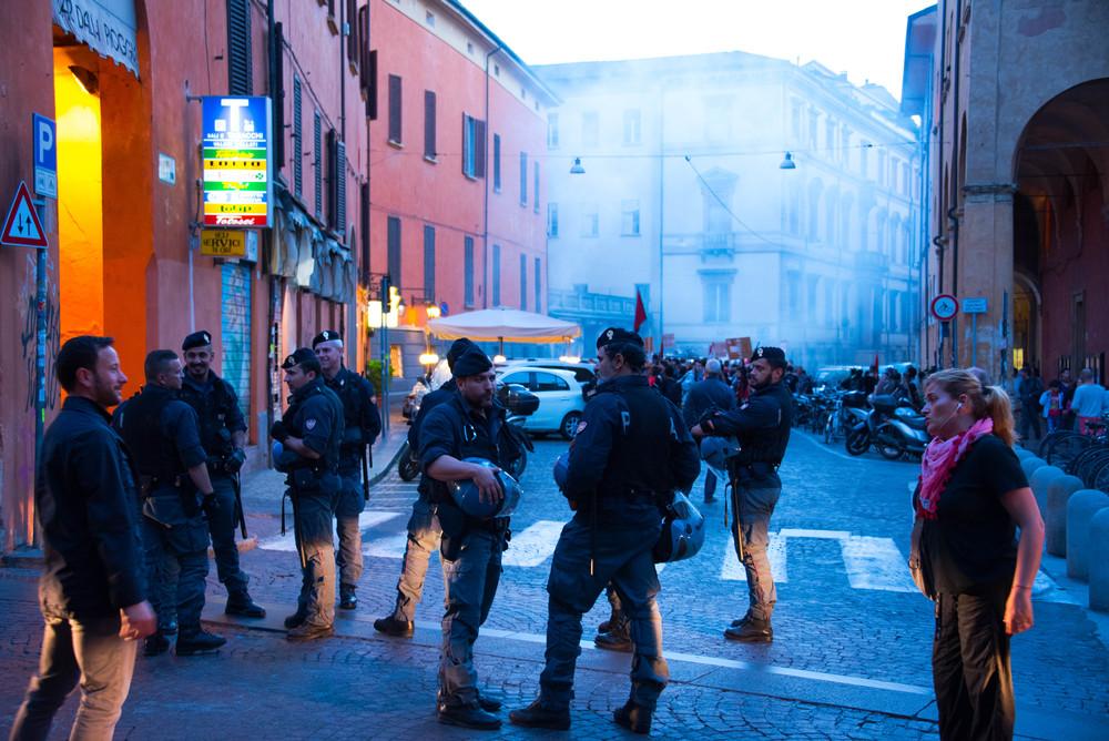 Demonstrasjon med tåregass i Bologna
