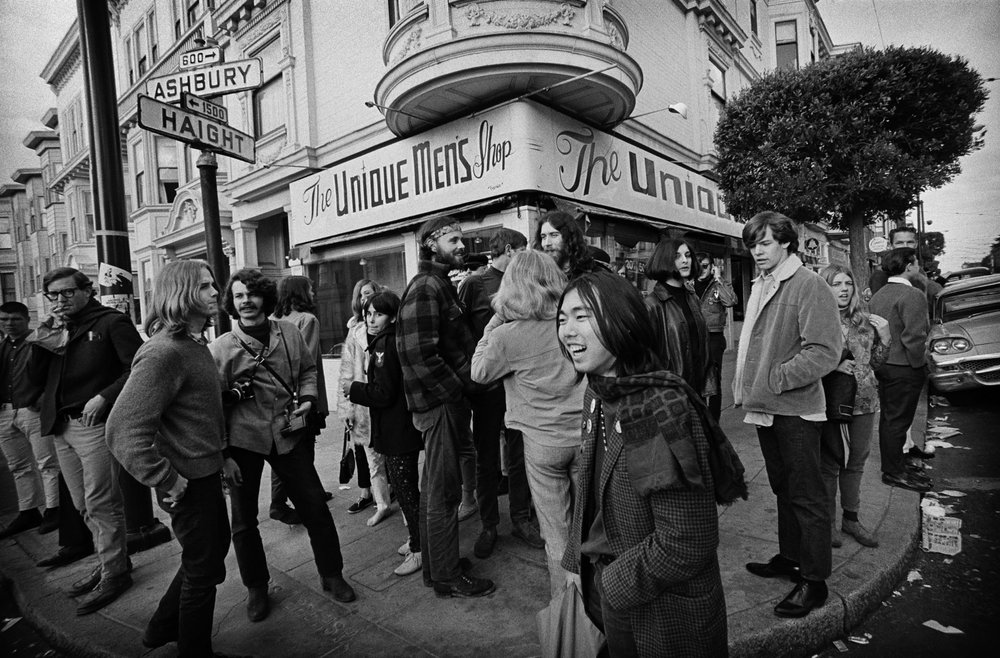 The corner of Haight & Ashbury, photographed by Jim Marshall in 1967.