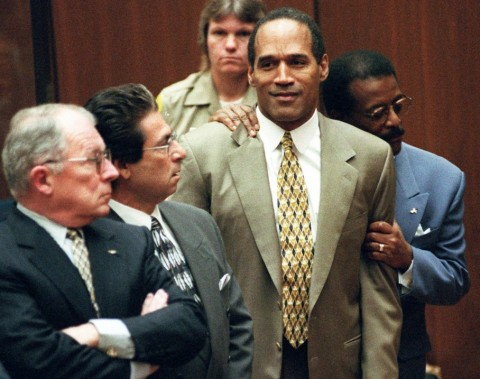 OJ Simpson reacts to the jury's verdict. Photo courtesy of the Washington Post.