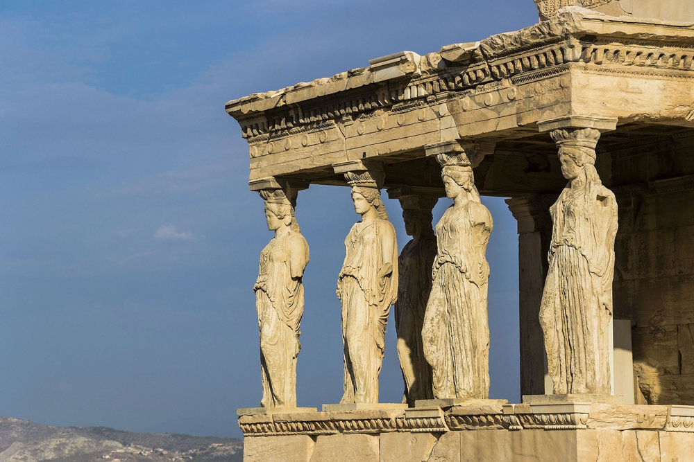 The caryatids - women-shaped columns - of the Acropolis.