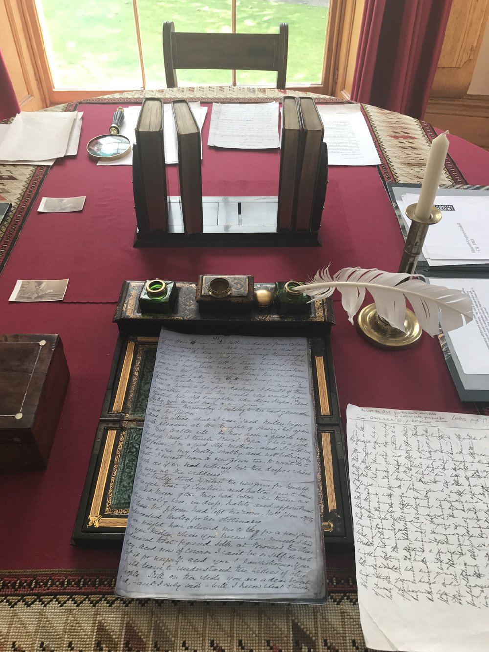 Elizabeth's writing desk, with copies of letters to Charlotte Bronte
