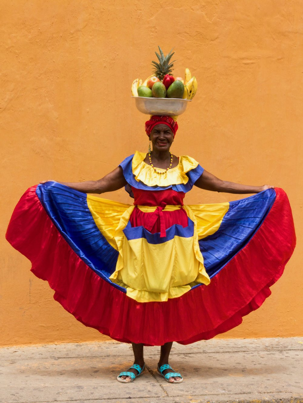 A palenquera, from San Basilio de Palenque, just southeast of Cartagena, a town founded by runaway slaves.