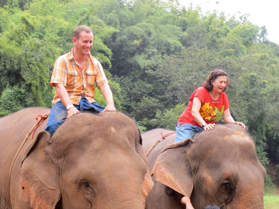 At the elephant camp at the Anantara Resort, Golden Triangle