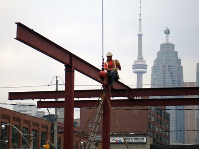 Construction worker positioning beam