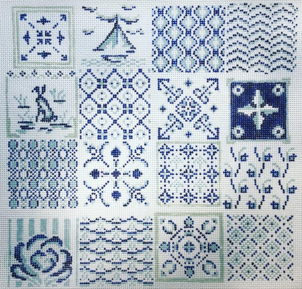 """Blue & White Tiles 15E   8.5""""x8"""" on 18 mesh"""
