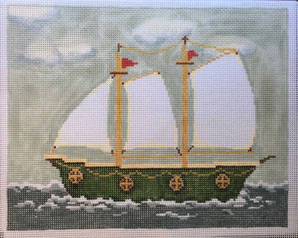 """Green Ship 15D   10.25""""x8.25"""" on 13 mesh"""