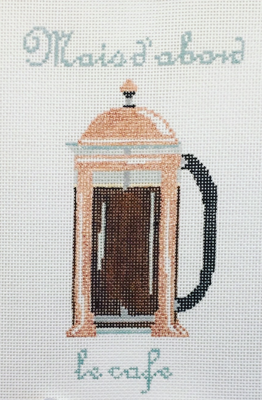 """But first, Coffee"" French Press 15O   7"" x 4"" on 18 mesh"