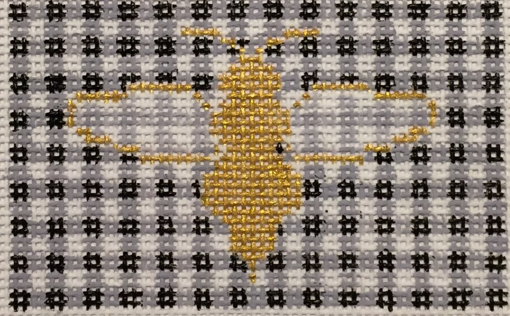 "Bee & Gingham 14E   2""x3"" on 18 mesh"