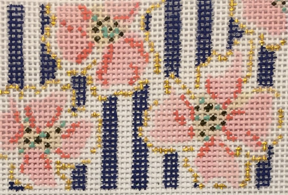 "Coral & Gold Flowers 14C   2""x3"" on 18 mesh"