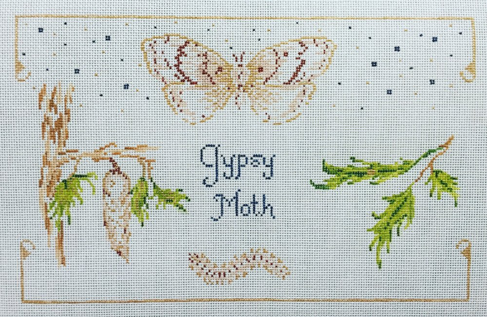 """Gypsy Moth 15Z   10""""x6.5"""" on 18 mesh"""