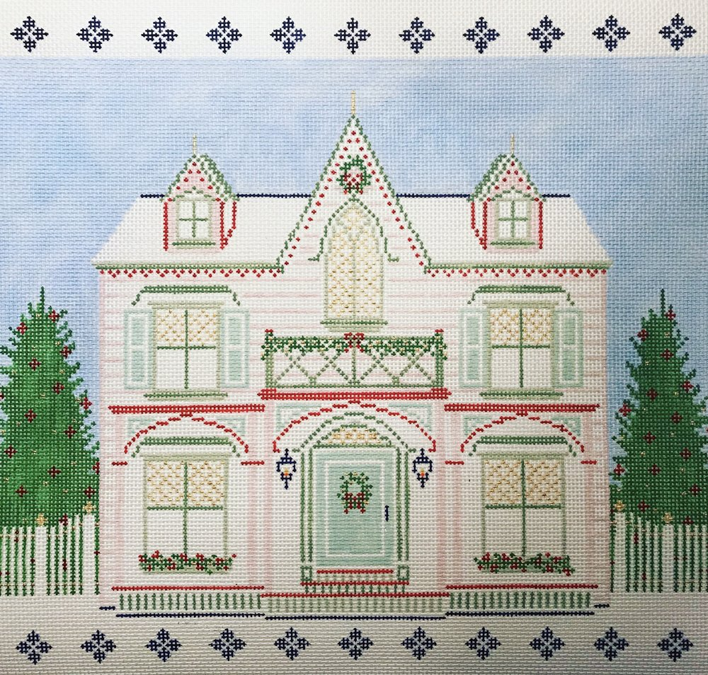 "The Peppermint House 15QQ   14""x12"" on 13 mesh"