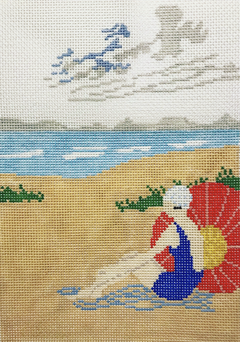 "Beach Lady SF2   10"" x 7"" on 13 mesh"