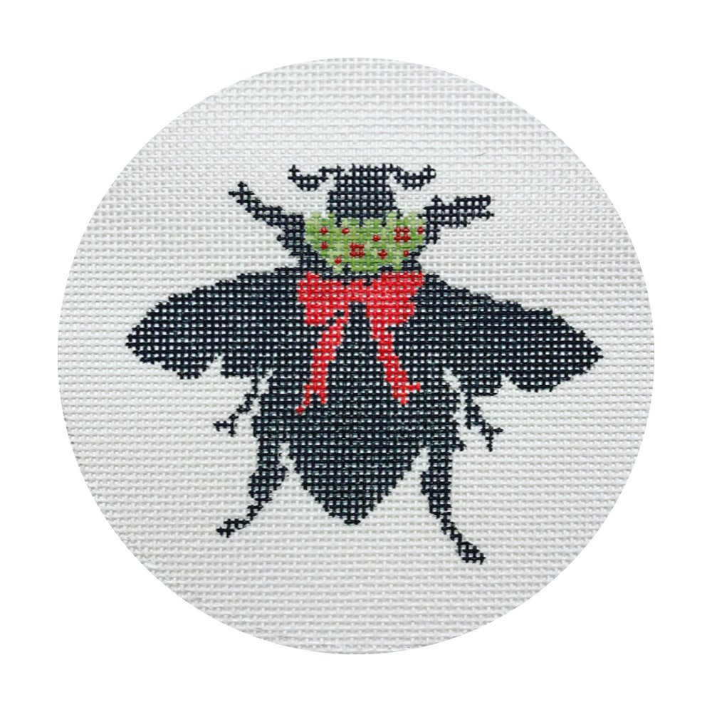 "Bee Silhouette DV-4   5"" round on 18 mesh"