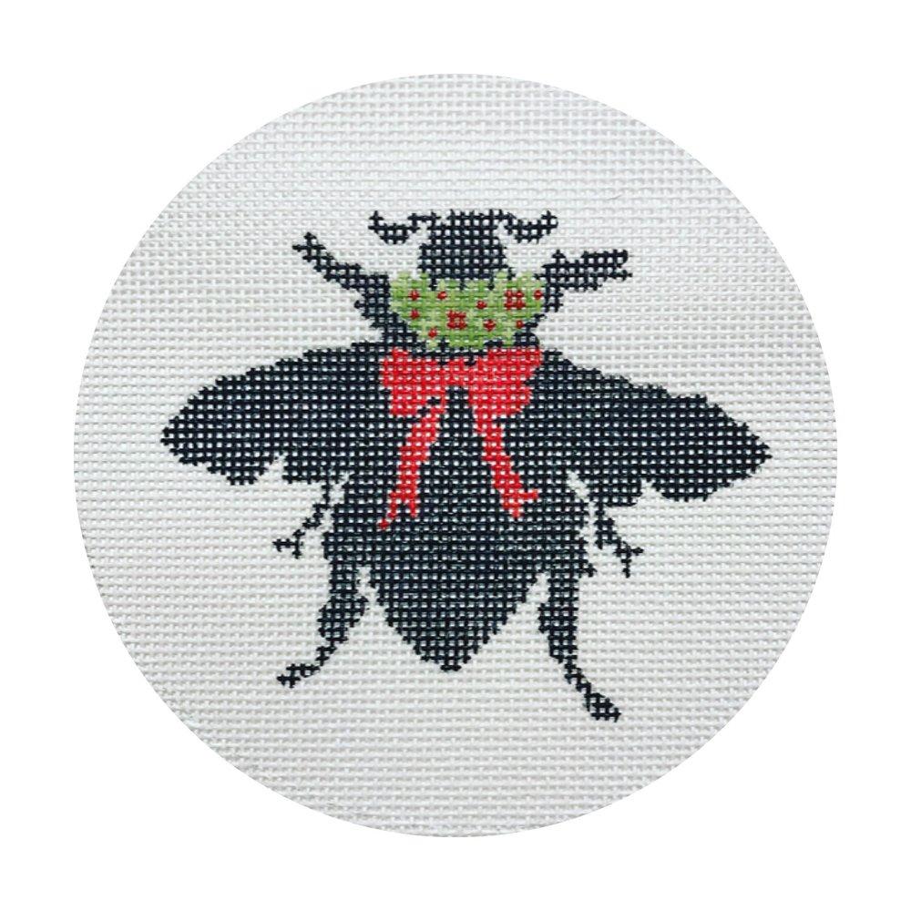 "Bee Silhouette DV-4   5"" round on 18 mesh"