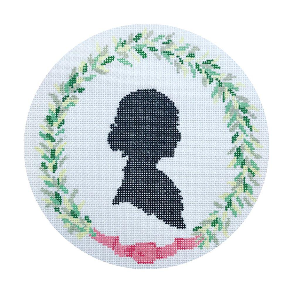 "Silhouette & Wreath DV-6   5.5"" round on 18 mesh"