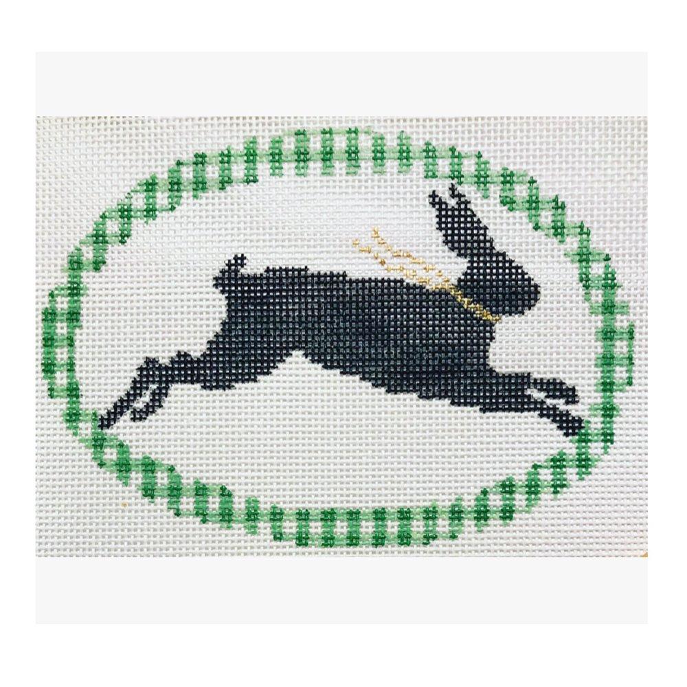 "Rabbit Silhouette DV-5   4.5"" oval on 18 mesh"